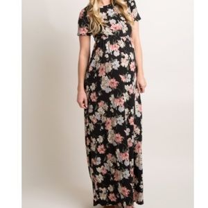 Black Floral Maxi Dress- Pink Blush